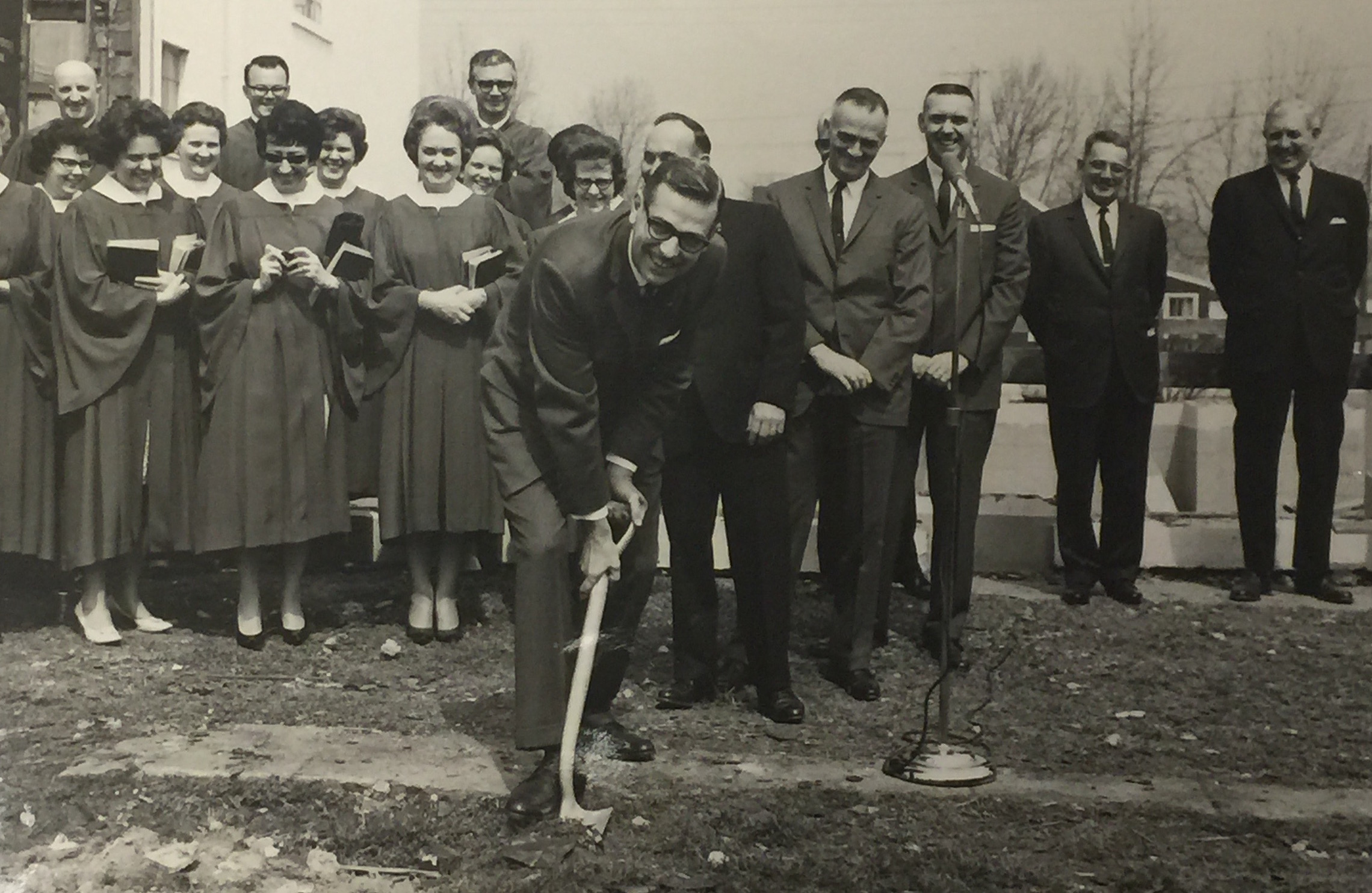 Pastor Wilson and the church breaking ground for the current sanctuary in 1965